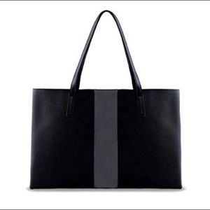 """Vince Camuto """"Luck"""" Tote in Black with Gray Stripe"""